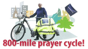 Hugh's 800 Mile Prayer Cycle raising money for Tapestry